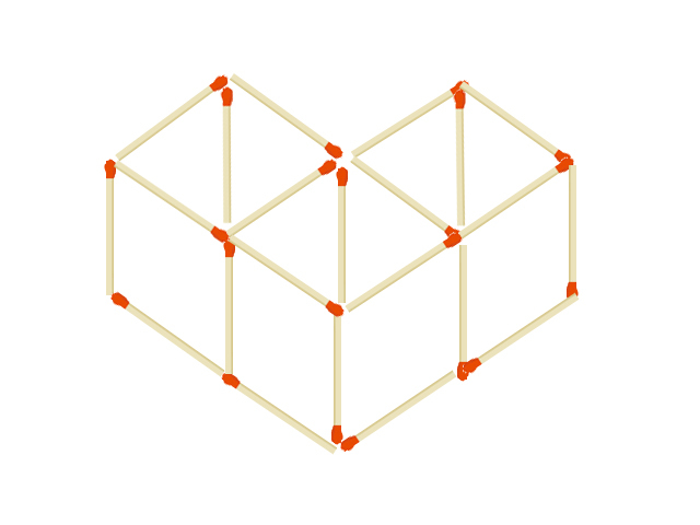 マッチ棒クイズ マッチ棒で出来た蓋のない箱3つを2本動かして4つの立方体にしてください。