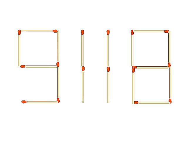 マッチ棒の問題 マッチ棒で出来た数字「9118」があります。2本動かして都道府県名に
