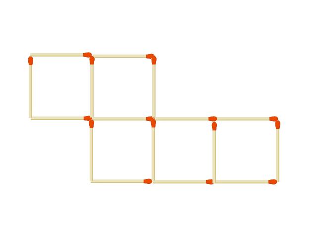 マッチ棒16本でできた正方形5個つ 2本動かして4つの正方形をつくる。