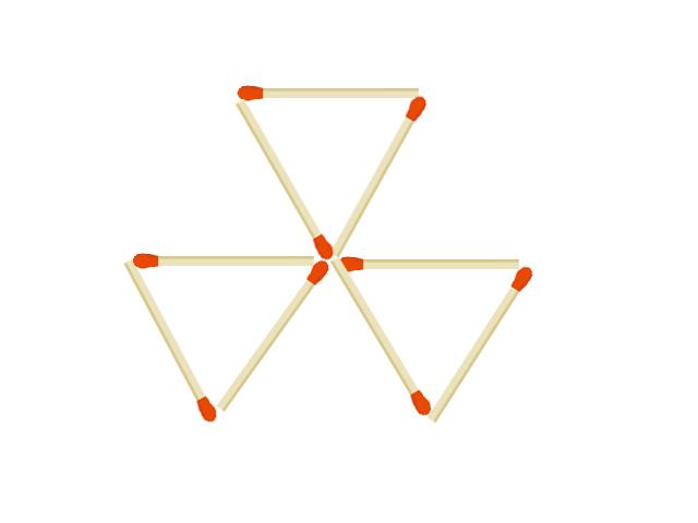マッチ棒の問題 9本で出来た正三角形3つ 3本動かして正方形を6つにしてください。