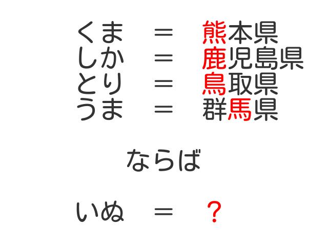 なぞなぞ? くま=熊本県 しか=鹿児島県 とり=鳥取県 うま=鹿児島県 いぬ=?