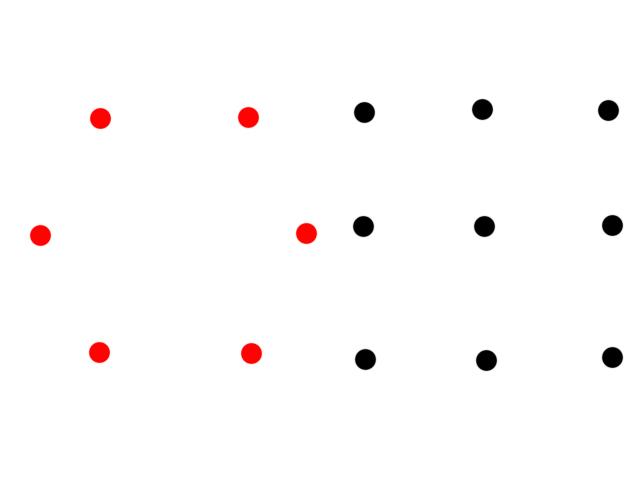 ●を全部通る一筆書き 6点=直線3本 9点=直線4本 12点=直線5本 16点=直線6本 25点=直線8本