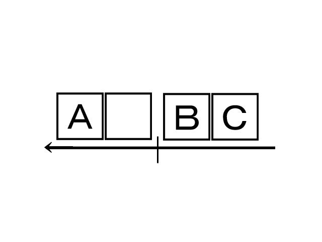 □のなかにアルファベット ABCが書かれています。空白の中にはなにがくる?