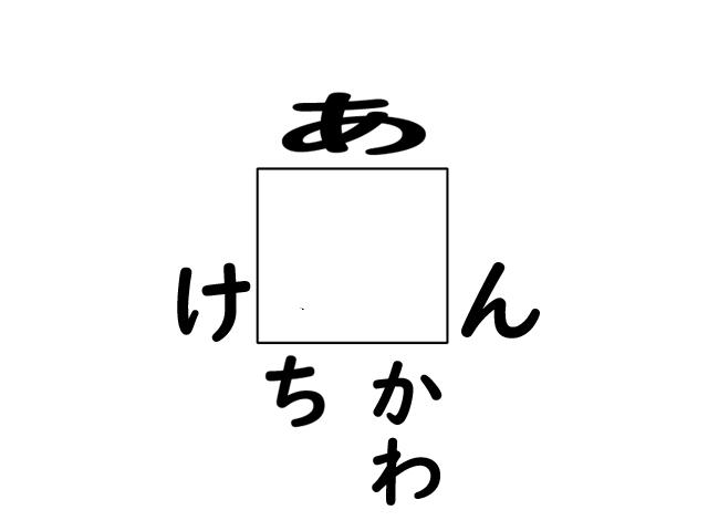 □のまわりの「あ・け・ん・ち・かわ」から□を答えヨ